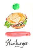 Χάμπουργκερ Watercolor απεικόνιση αποθεμάτων
