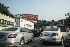 Χάος κυκλοφορίας στον αυτοκινητόδρομο Shenzhen Στοκ Φωτογραφίες
