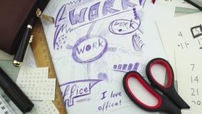 Χάος σε έναν εργασιακό χώρο απόθεμα βίντεο