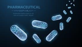 Χάπια Αφηρημένα polygonal χάπια καψών που αφορούν το μπλε ελεύθερη απεικόνιση δικαιώματος