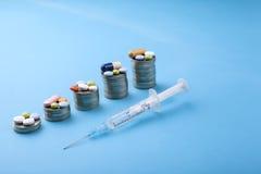 Χάπια ιατρικής και κάψες και νομίσματα σε ένα μπλε υπόβαθρο Στοκ Εικόνα