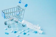 Χάπια και ιατρική έγχυση στο καροτσάκι αγορών στο μπλε υπόβαθρο Δημιουργική ιδέα για το κόστος υγειονομικής περίθαλψης, φαρμακείο στοκ εικόνες