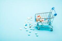 Χάπια και καροτσάκι αγορών στο μπλε υπόβαθρο Δημιουργική ιδέα για το κόστος υγειονομικής περίθαλψης, το φαρμακείο, την ασφάλεια υ στοκ φωτογραφία με δικαίωμα ελεύθερης χρήσης
