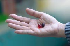 Χάπια καψών εκμετάλλευσης χεριών γυναικών με το υπόβαθρο φαρμακείων στοκ φωτογραφίες