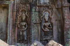Χάραξη πετρών χορευτών Apsara στο ναό Angkor Wat Στοκ φωτογραφία με δικαίωμα ελεύθερης χρήσης