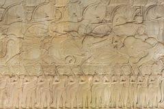 Χάραξη τοίχων στο ναό Prasat Bayon σε Angkor Thom, Καμπότζη Στοκ Φωτογραφία