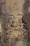 Χάραξη Apsara στο ναό Bayon, χορός Apsara Στοκ εικόνα με δικαίωμα ελεύθερης χρήσης