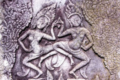 Χάραξη Apsara στο ναό Bayon, Angkor, Καμπότζη Στοκ φωτογραφίες με δικαίωμα ελεύθερης χρήσης