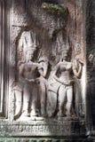 Χάραξη Aspara στη 12η ανατολική πύλη αιώνα του ναού Ankgor Wat Στοκ φωτογραφίες με δικαίωμα ελεύθερης χρήσης