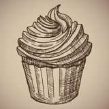 Χάραξη cupcake Κέικ γλυκιάς σοκολάτας για το πρόγευμα Απεικόνιση αποθεμάτων