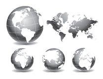 Χάρτες παγκόσμιων σφαιρών διανυσματική απεικόνιση