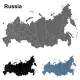 Χάρτες περιλήψεων της Ρωσίας στο μπλε, το Μαύρο και το γκρι Στοκ Εικόνα