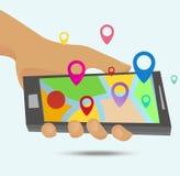 Χάρτες ΠΣΤ στο smartphone ελεύθερη απεικόνιση δικαιώματος