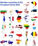 χάρτες σημαιών της ΕΕ χωρών Στοκ Εικόνα