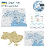 Χάρτες της Ουκρανίας με τους δείκτες Στοκ φωτογραφίες με δικαίωμα ελεύθερης χρήσης