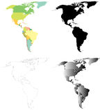 Χάρτες του Βορρά και της Νότιας Αμερικής Στοκ Φωτογραφίες