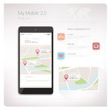 Χάρτες app στο smartphone Στοκ Φωτογραφία