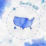 Χάρτης ΑΜΕΡΙΚΑΝΙΚΟΥ watercolor στα μπλε χρώματα απεικόνιση αποθεμάτων