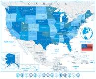Χάρτης ΑΜΕΡΙΚΑΝΙΚΩΝ δρόμων στα χρώματα των δεικτών μπλε και χαρτών Στοκ εικόνες με δικαίωμα ελεύθερης χρήσης