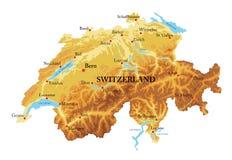 Χάρτης ανακούφισης της Ελβετίας Στοκ εικόνα με δικαίωμα ελεύθερης χρήσης