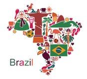 Χάρτης από τα παραδοσιακά σύμβολα της Βραζιλίας διανυσματική απεικόνιση