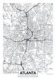 Χάρτης Ατλάντα, διανυσματικό σχέδιο πόλεων αφισών ταξιδιού ελεύθερη απεικόνιση δικαιώματος