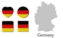 Χάρτης Γερμανία σημαιών Στοκ Φωτογραφία