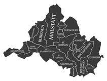 Χάρτης Γερμανία de πόλεων της Σάαρμπρουκεν επονομαζόμενη τη μαύρη απεικόνιση Στοκ φωτογραφία με δικαίωμα ελεύθερης χρήσης