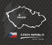 Χάρτης Δημοκρατίας της Τσεχίας, διανυσματικό στρέθιμο της προσοχής στον πίνακα διανυσματική απεικόνιση