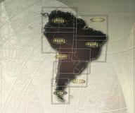 Χάρτης εγγράφου της Νότιας Αμερικής με το γεωγραφικό πλάτος Στοκ Φωτογραφίες