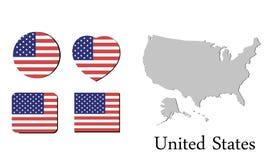 Χάρτης Ηνωμένες Πολιτείες σημαιών Στοκ Εικόνες