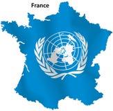 Χάρτης Ηνωμένων Εθνών της Γαλλίας Στοκ εικόνα με δικαίωμα ελεύθερης χρήσης