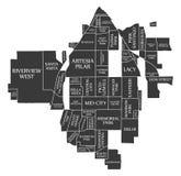 Χάρτης ΗΠΑ πόλεων Καλιφόρνιας Σάντα Άννα επονομαζόμενος τη μαύρη απεικόνιση Στοκ φωτογραφία με δικαίωμα ελεύθερης χρήσης