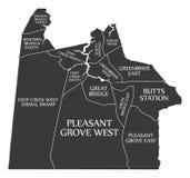 Χάρτης ΗΠΑ πόλεων της Βιρτζίνια Chesapeake επονομαζόμενος τη μαύρη απεικόνιση απεικόνιση αποθεμάτων