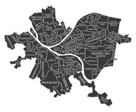 Χάρτης ΗΠΑ πόλεων του Πίτσμπουργκ Πενσυλβανία επονομαζόμενος τη μαύρη απεικόνιση Στοκ φωτογραφία με δικαίωμα ελεύθερης χρήσης