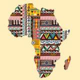 Χάρτης ηπείρων της Αφρικής περίκομψος με το εθνικό σχέδιο απεικόνιση αποθεμάτων