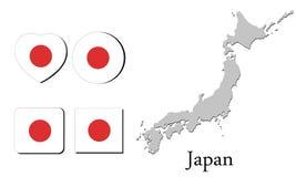 Χάρτης Ιαπωνία σημαιών Στοκ Εικόνες