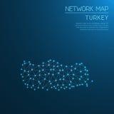Χάρτης δικτύων της Τουρκίας Στοκ φωτογραφία με δικαίωμα ελεύθερης χρήσης
