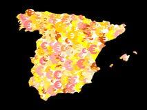 χάρτης Ισπανία ευρώ απεικόνιση αποθεμάτων