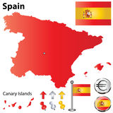χάρτης Ισπανία Στοκ εικόνες με δικαίωμα ελεύθερης χρήσης