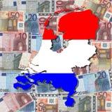 χάρτης Κάτω Χώρες σημαιών Στοκ φωτογραφία με δικαίωμα ελεύθερης χρήσης