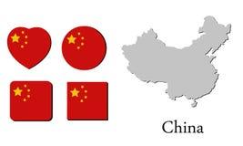 Χάρτης Κίνα σημαιών Στοκ Φωτογραφίες