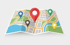 Χάρτης και δείκτης διανυσματική απεικόνιση