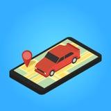 Χάρτης και καρφίτσες στην οθόνη του smartphone Διανυσματική απεικόνιση