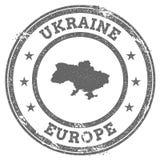 Χάρτης και κείμενο σφραγιδών της Ουκρανίας grunge απεικόνιση αποθεμάτων
