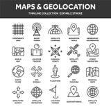 Χάρτης και ναυσιπλοΐα Συντεταγμένες ΠΣΤ Εικονίδια θέσης Τέχνη γραμμών απεικόνιση αποθεμάτων