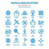 Χάρτης και ναυσιπλοΐα Συντεταγμένες ΠΣΤ Εικονίδια θέσης Τέχνη γραμμών διανυσματική απεικόνιση