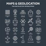 Χάρτης και ναυσιπλοΐα Συντεταγμένες ΠΣΤ Εικονίδια θέσης Τέχνη γραμμών ελεύθερη απεικόνιση δικαιώματος