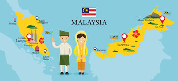 Χάρτης και ορόσημα της Μαλαισίας με τους ανθρώπους στον παραδοσιακό ιματισμό Στοκ φωτογραφία με δικαίωμα ελεύθερης χρήσης