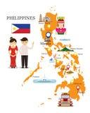 Χάρτης και ορόσημα των Φιλιππινών με τους ανθρώπους σε παραδοσιακό Clothin Στοκ Εικόνες